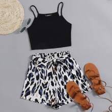 Strick Crop Cami Top & Shorts mit Selbstguertel und Grafik Muster