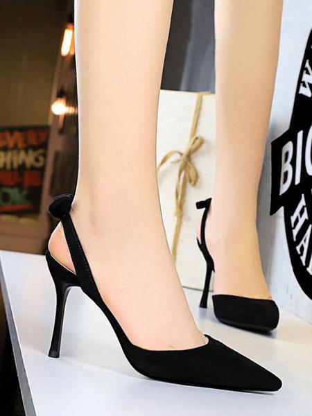 Milanoo De mujer Destalonado Tacones de Aguja Negro Dedo Puntiagudo Comodo Poliuretano Tacon Alto Zapatos