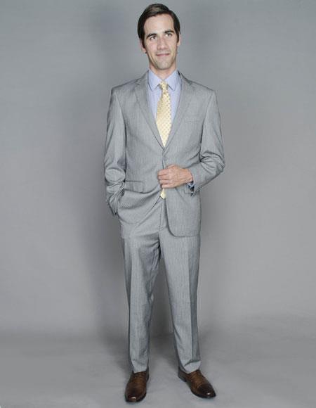 Men's Striped Single Giorgio Fiorelli Brsuits Flat Front Pants