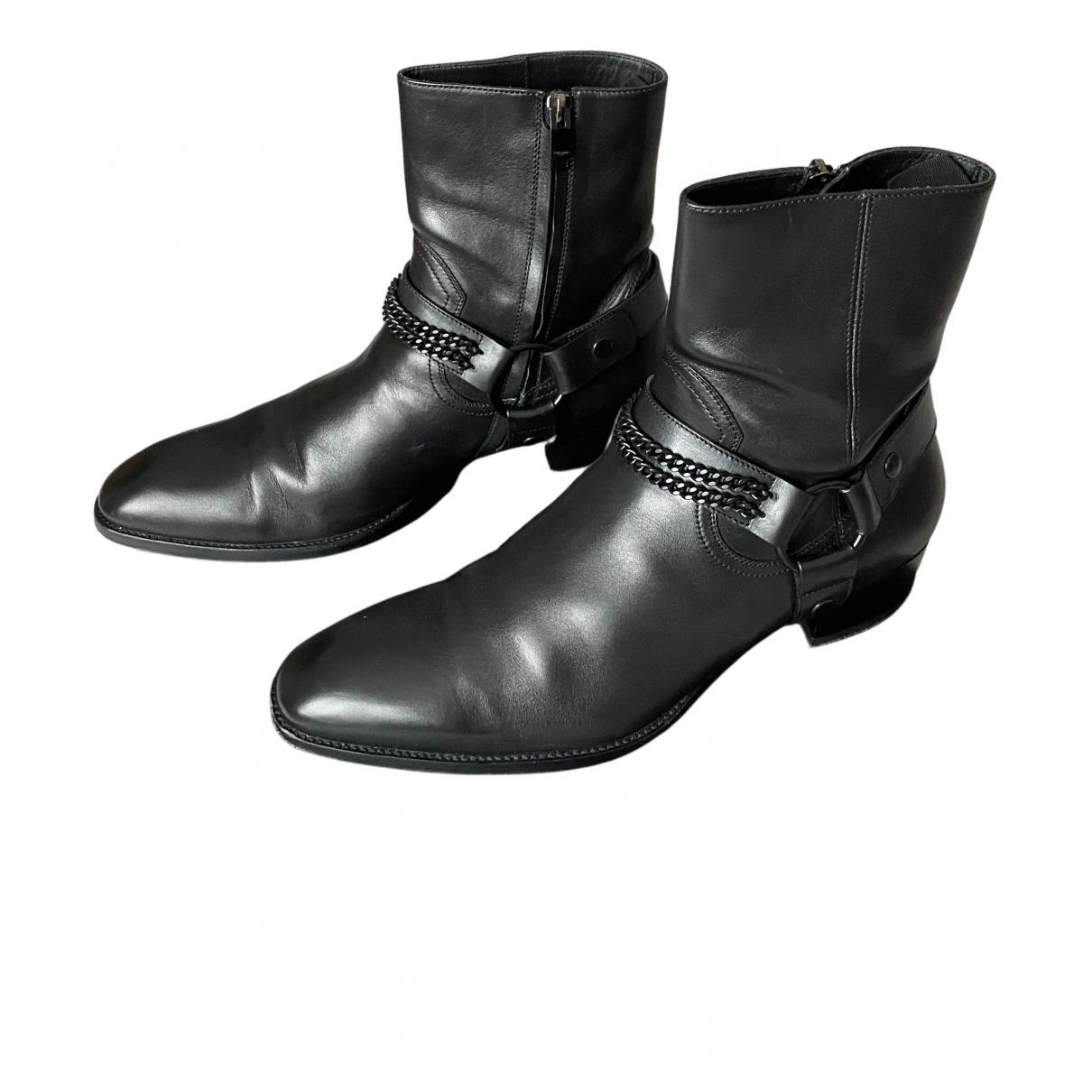 Saint Laurent Wyatt Stiefel in  Schwarz Leder