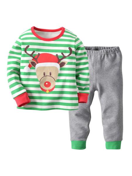 Milanoo Kids Christmas Pajamas Santa Claus Striped Top And Pants Set Halloween