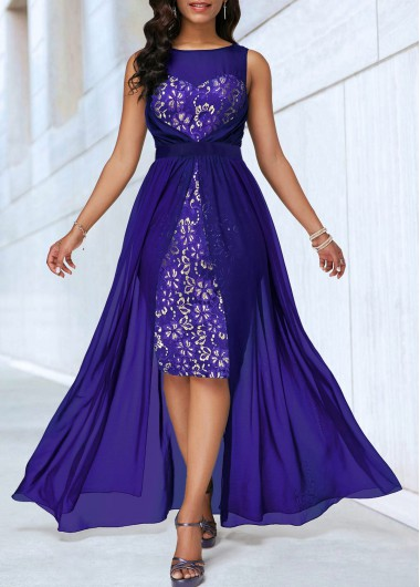 Women'S Royal Blue Illusion Sleeveless Dip Hem Cocktail Party Dress Solid Color Lace Panel Belted High Waisted Maxi Elegant Dress By Rosewe - M