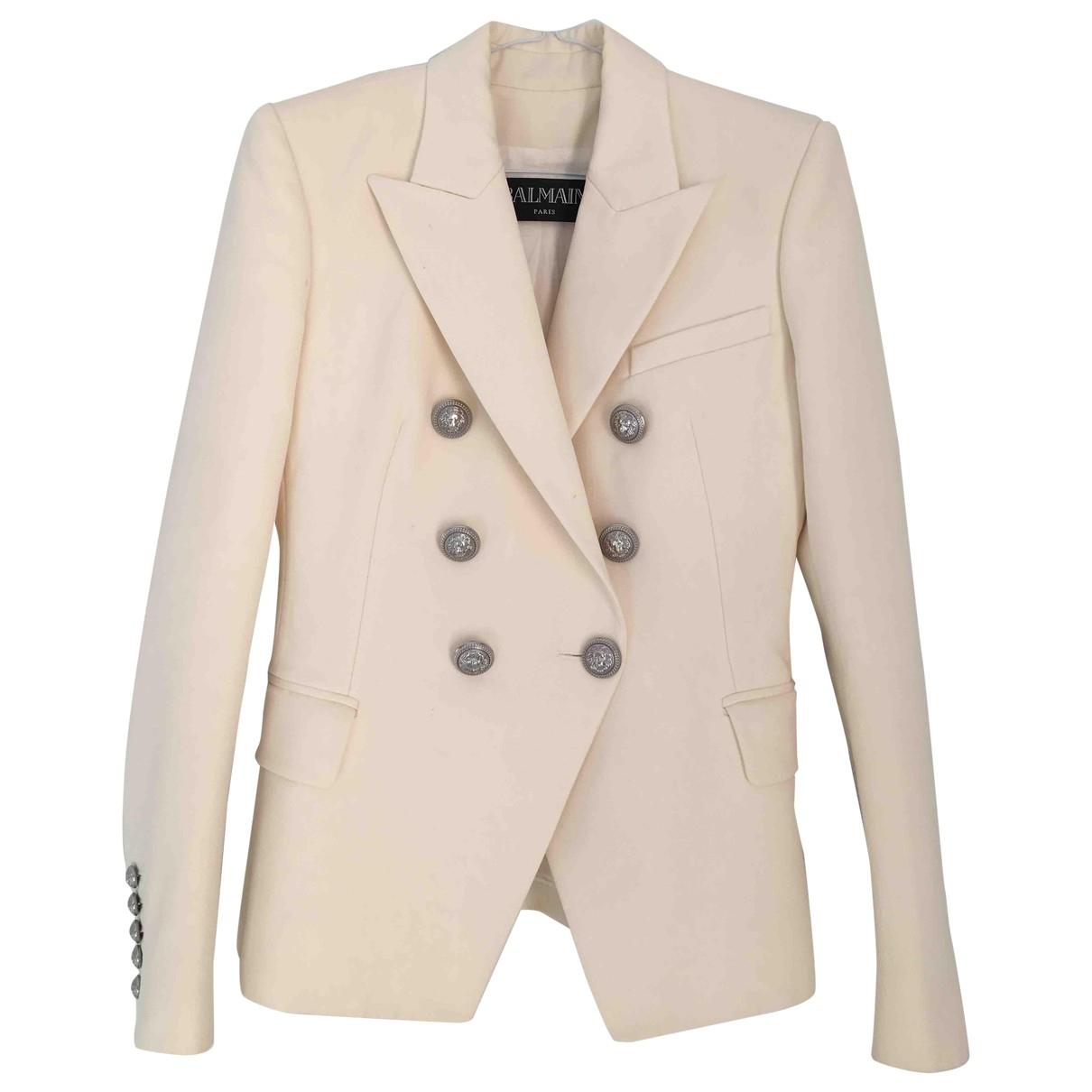 Balmain \N White Wool jacket for Women 36 FR