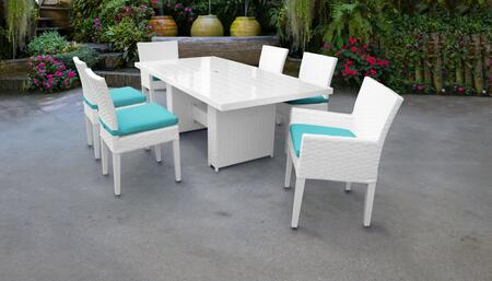 MONACO-DTREC-KIT-4ADC2DCC-ARUBA Monaco 7-Piece Outdoor Patio Dining Set with Rectangular Table + 4 Side Chairs + 2 Arm Chairs - Sail White and Aruba