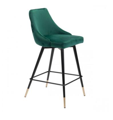 Piccolo Collection 101094 36.4 Counter Chair with Button Tufting  Tapered Back  Foot Rest  Slim Pencil Legs  Velvet Upholstery in Green