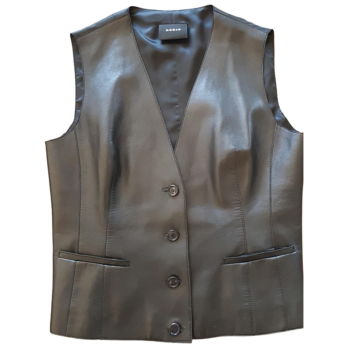 Akris \N Pullover in  Schwarz Leder
