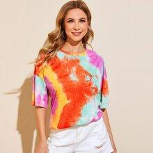 Vielfarbig Batik  Laessig T-Shirts
