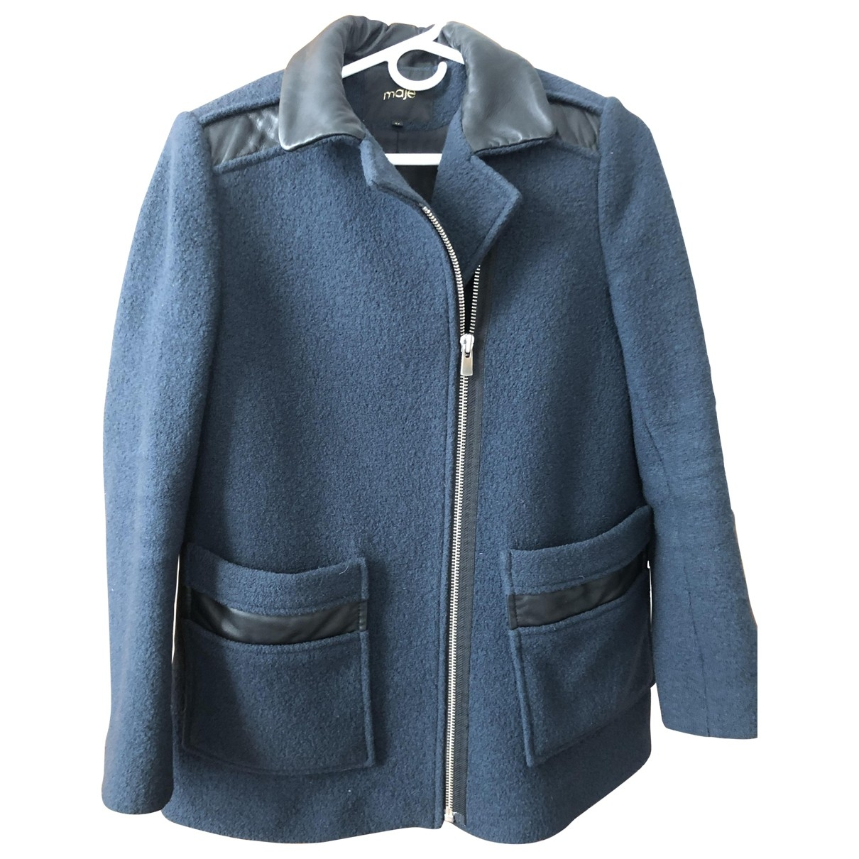 Maje - Manteau   pour femme en laine - bleu