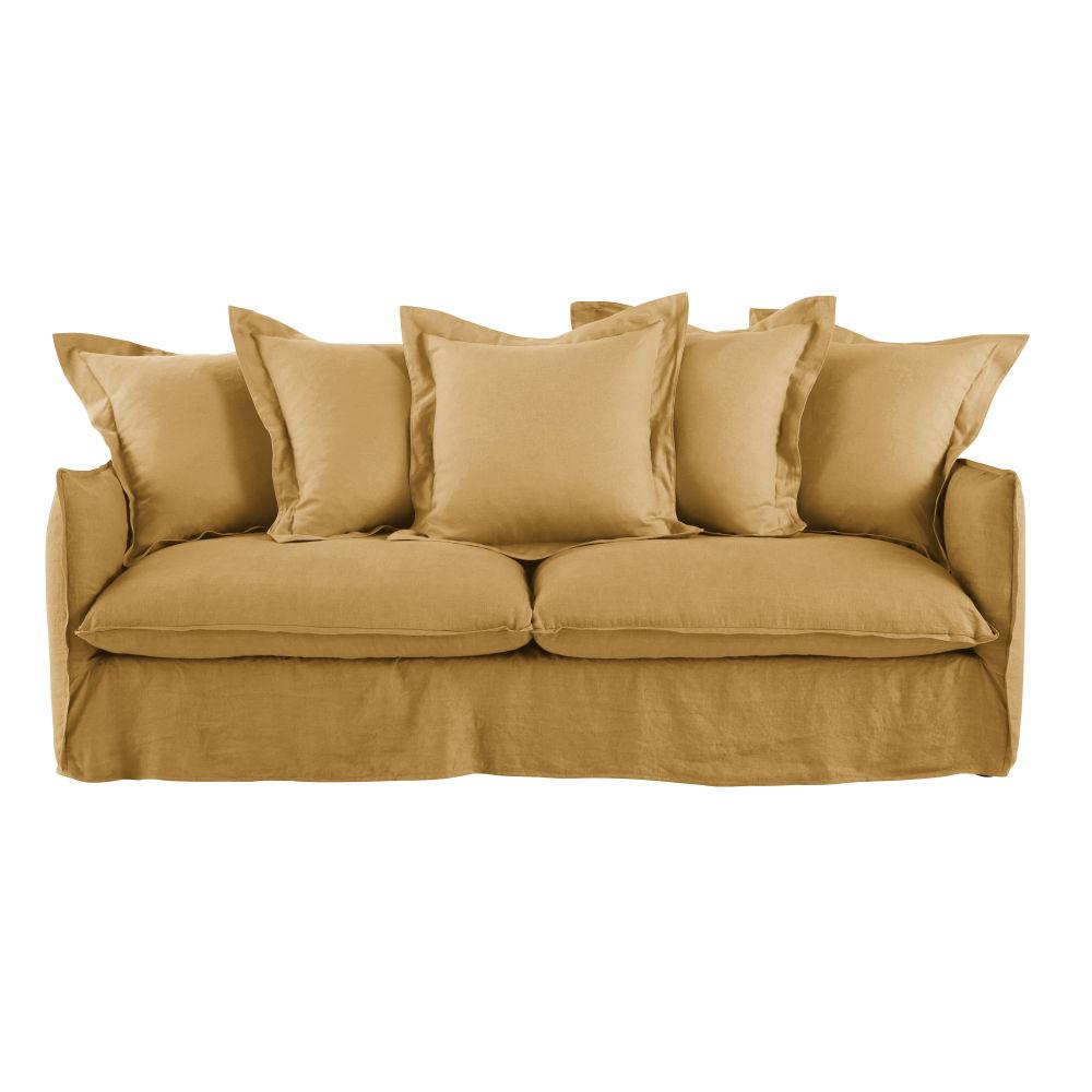 3/4-Sitzer-Schlafsofa mit ockerfarbenem Leinenbezug und Matratze 6 cm Barcelone