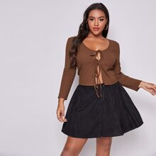 Plus Solid Rib-knit Tie Front Top