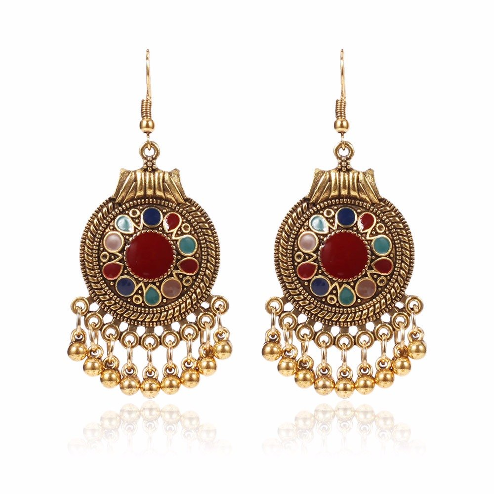 Vintage Ear Drop Earrings Round Geometric Beads Tassels Dangle Earrings Ethnic Jewelry for Women