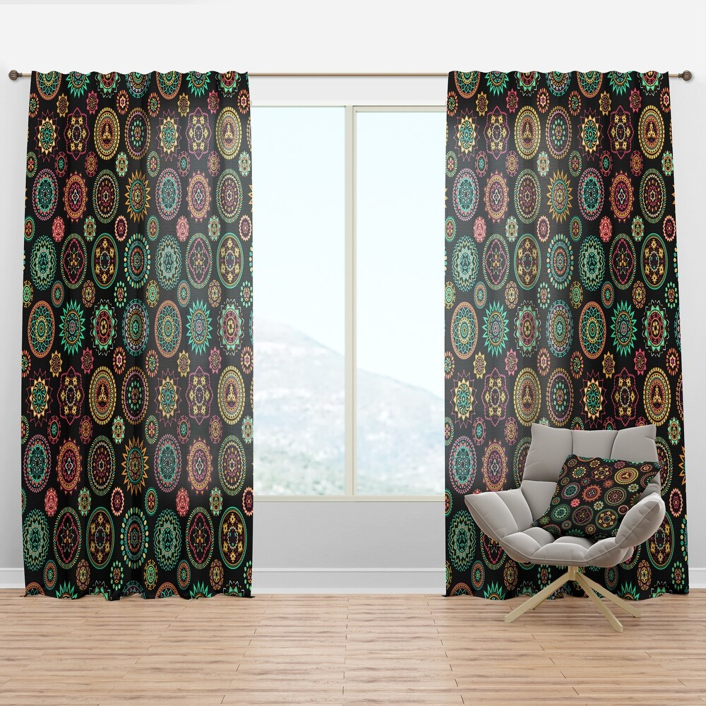 Designart 'Geometric Round Ethnic Decorative Elements' Bohemian & Eclectic Curtain Panel (50 in. wide x 63 in. high - 1 Panel)