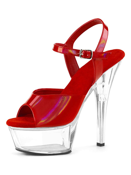 Milanoo Sexy Sandals For Woman Blond PU Leather Peep Toe Monk Strap Stiletto Sexy Shoes