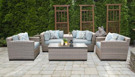Florence Collection FLORENCE-06d-SPA 6-Piece Patio Set 06d with 2 Corner Chair   1 Cup Table   1 Storage Coffee Table   2 Club Chair - Grey and Spa
