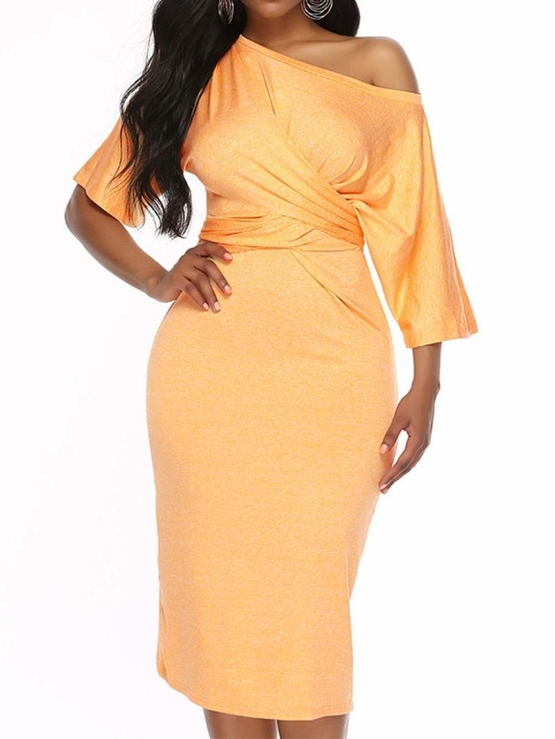 Ericdress Knee-Length Pleated Half Sleeve Pullover Bodycon Dress
