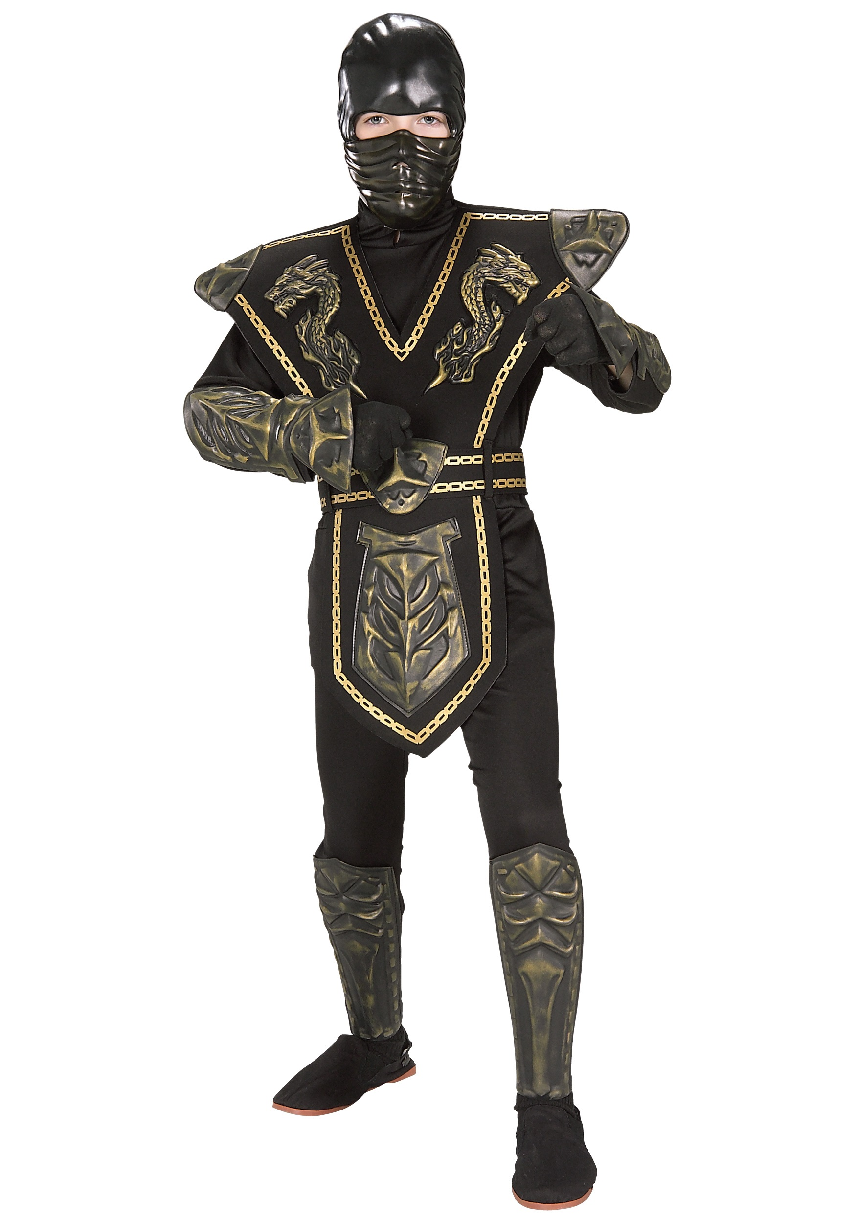 Gold Dragon Warrior Ninja Costume for children