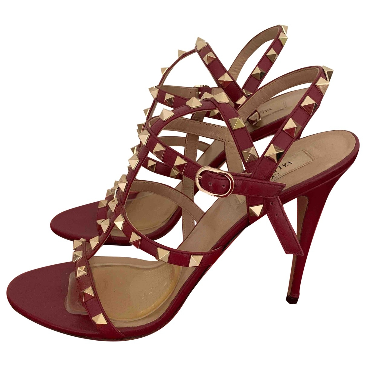Valentino Garavani Rockstud Red Leather Sandals for Women 41 EU