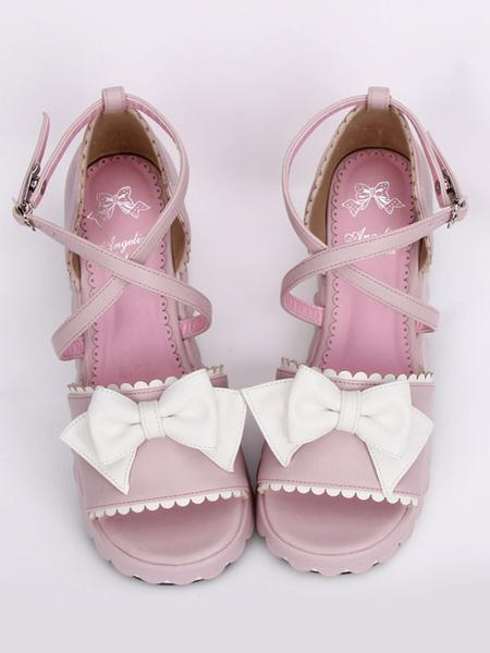 Milanoo Pink Lolita Platform Sandals White Bows Ankle Straps Heart Shape Buckle