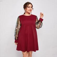 Plus Embroidery Mesh Sleeve Tee Dress