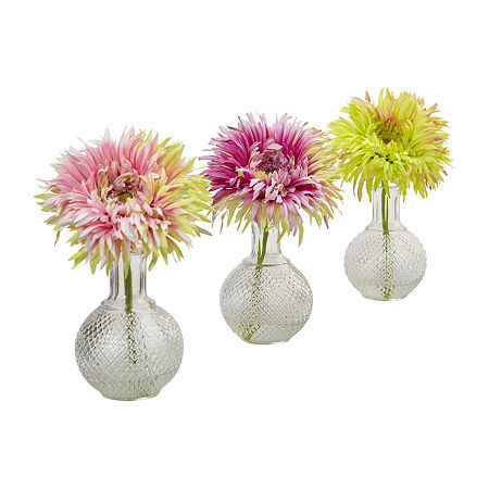 Nearly Natural Daisy With Glass Vase (Set Of 3) Artificial Flowers, One Size , Pink
