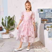 Girls Flounce Sleeve Floral Organza Dress