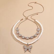 2 piezas collar colgante de mariposa con diamante de imitacion