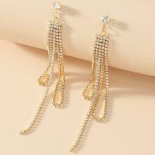 Rhinestone Long Tassel Drop Earrings
