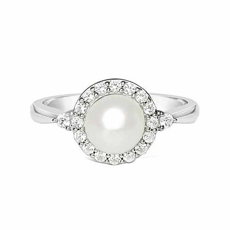 Cultured Freshwater Pearl & Lab-Created White Sapphire Sterling Silver Cocktail Ring, 8 , No Color Family