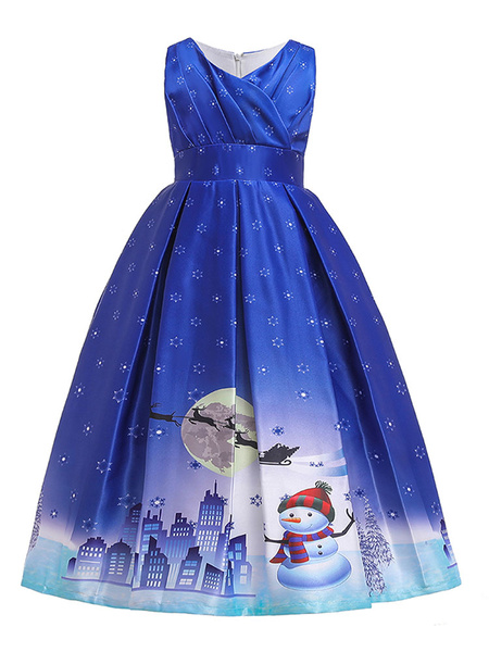 Milanoo Kids Christmas Cosplay Outfits Blue Dress Print Costumes Wears For Child