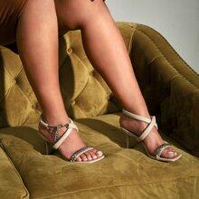 Chain Decor Ankle Strap Stiletto Heeled Sandals