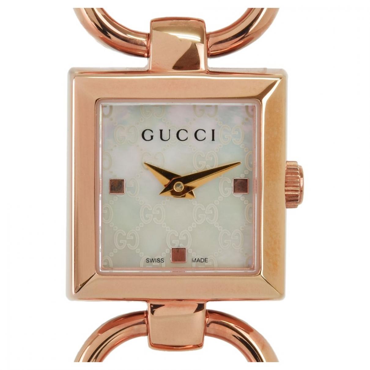 Gucci - Montre   pour femme en acier - blanc