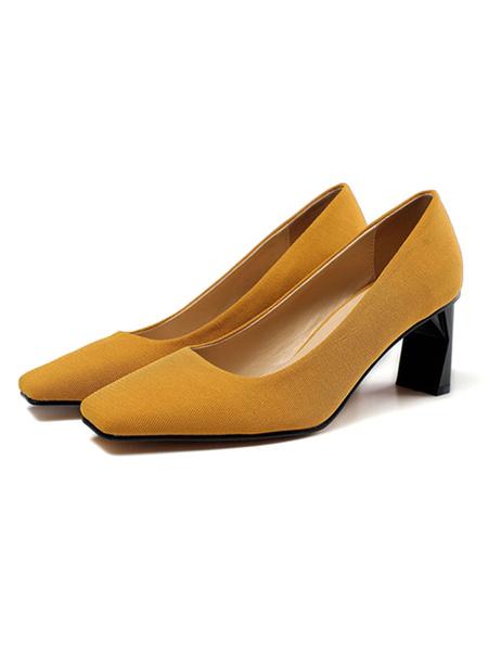 Milanoo Black Low Heels Square Toe Special-Shaped Heel Pumps Women\'s Shoes