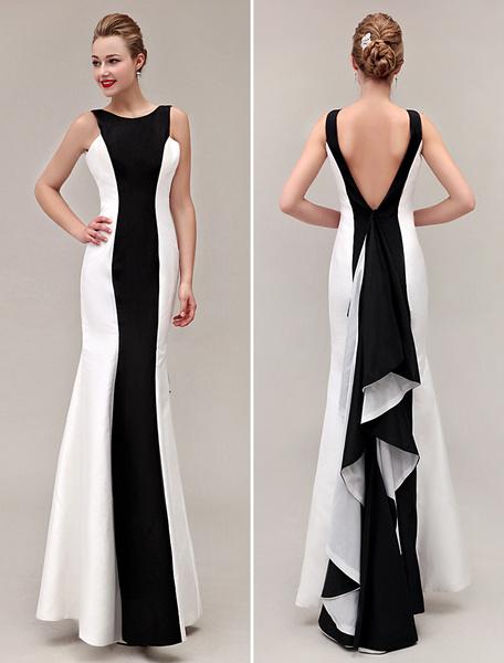 Milanoo black prom dresses 2020 Color Block backless  fishtail evening gown Mermaid Ruffles formal dresses
