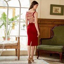 Lace Up Backless Split Hem Dress