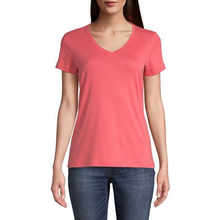 St. John's Bay-Womens V Neck Short Sleeve T-Shirt, Large , Pink
