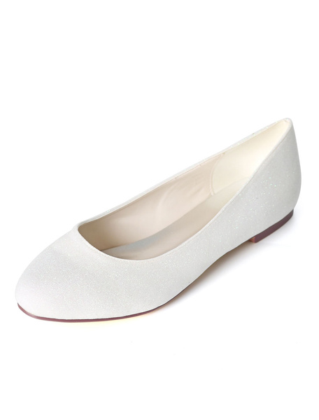 Milanoo Silver Wedding Shoes Glitter Round Toe Slip On Bridesmaid Shoes Women Ballet Flats