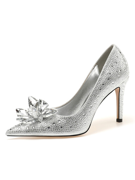 Milanoo Women's High Heels Slip-On Pointed Toe Stiletto Heel Rhinestones Chic Low-Tops Silver Pumps