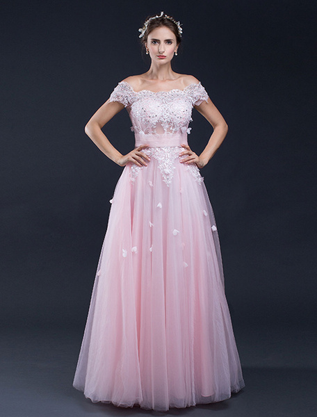 Milanoo Beach Wedding Dress Pink Lace Applique Off-the-shoulder A-line Floor-length Bridal Gown