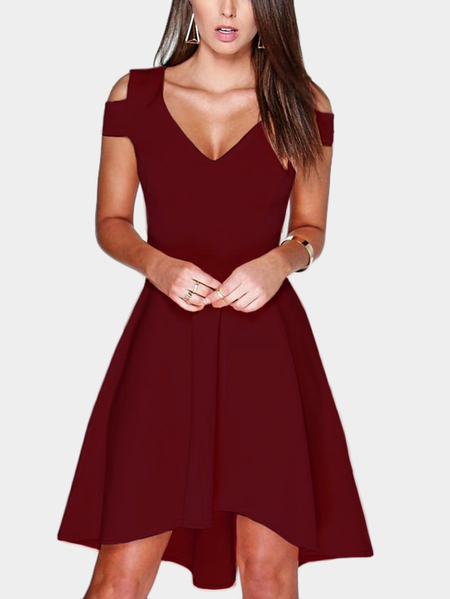 Yoins Burgundy Cut Out Cold Shoulder V-neck Mini Dress