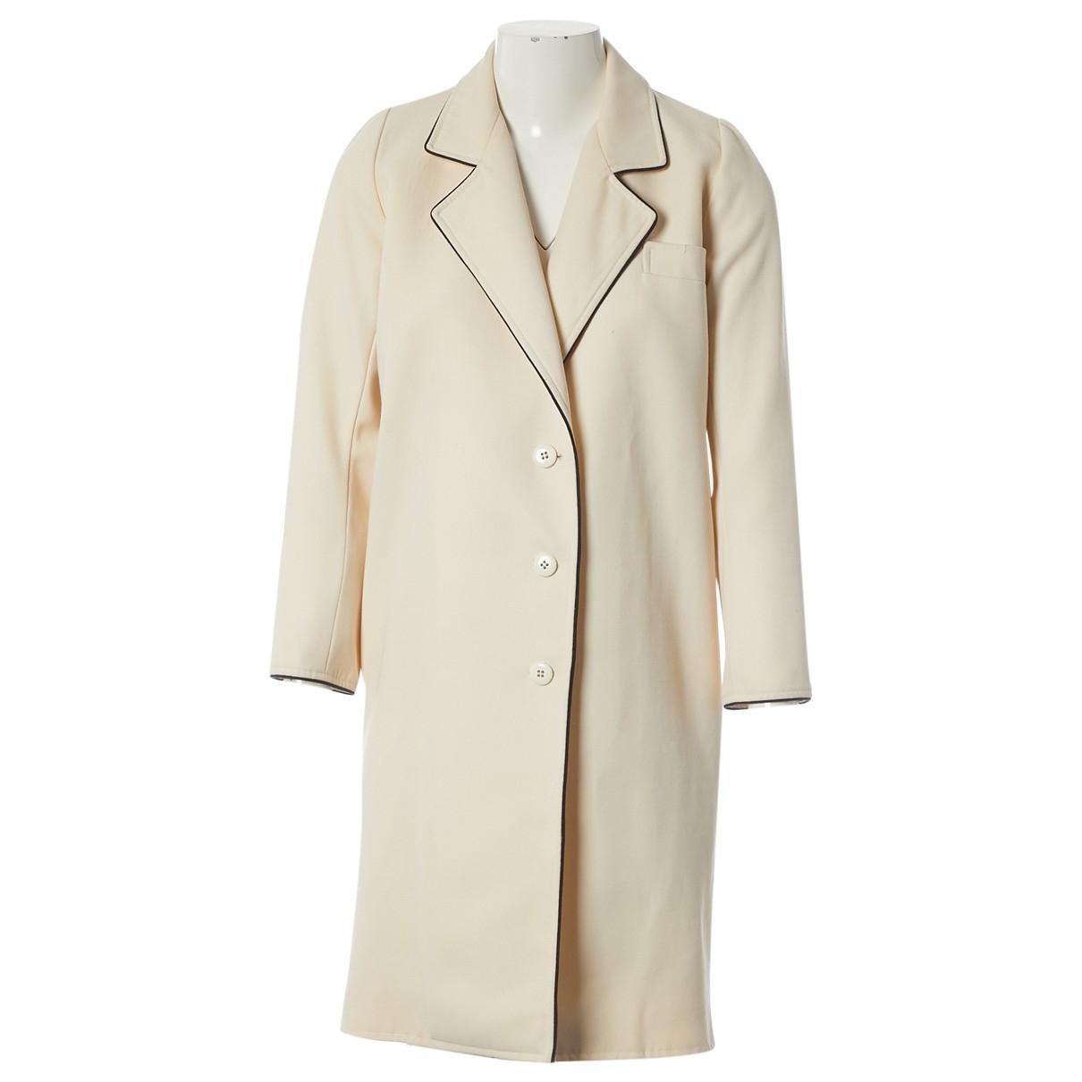 Yves Saint Laurent - Manteau   pour femme en laine - ecru