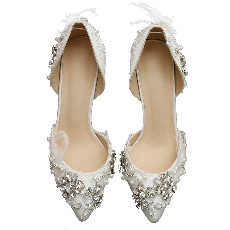 Ericdress Rhinestone Beads Patchwork Stiletto Heel Wedding Shoes