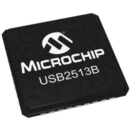 Microchip USB2513BI-AEZG, USB Controller, 480Mbps, USB 2.0, 3.3 V, 36-Pin QFN (2)