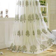 Tree Embroidery Single Panel Curtain