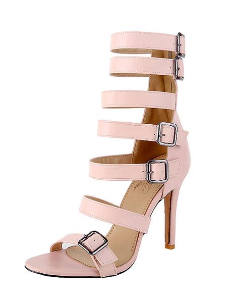 Milanoo Black Gladiator Sandals Women Open Toe Buckle Detail High Heel Sandal Shoes