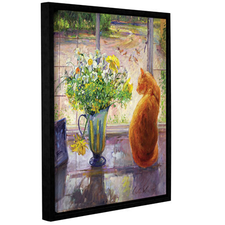 Brushstone Strped Jug with Spring Flowers GalleryWrapped Floater-Framed Canvas Wall Art, One Size , Orange