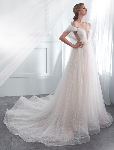 Milanoo Vestidos de novia de marfil Tulle Backless Illusion vestido de novia con cuentas de hombro en frio