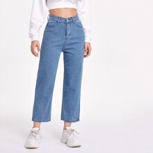 Solid Pocket Detail Cropped Mom Jeans