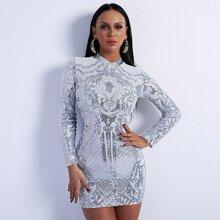 Mock Neck Damask Sequin Bodycon Dress