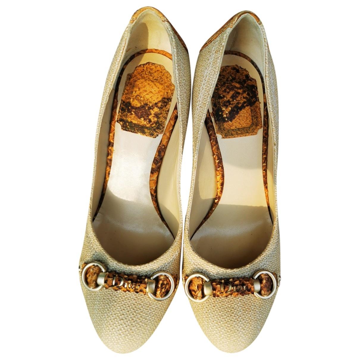 Dior \N Beige Cloth Heels for Women 35.5 EU