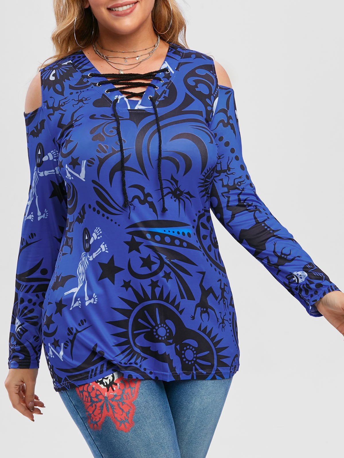 Plus Size Halloween Printed Lace-up Cold Shoulder Tunic Top